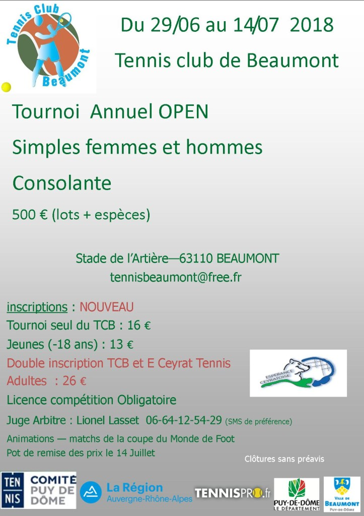 tournoi open 2018 Beaumont