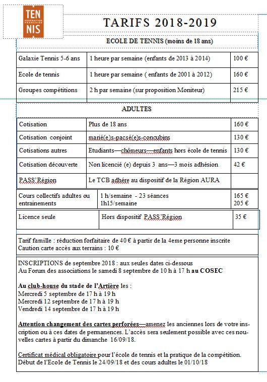 tarifs depliant TCB 2019